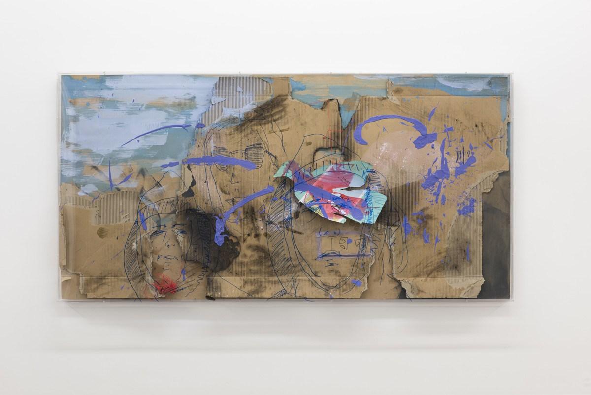 Yves Scherer, Berlin, 2015 Plexiglass, wood, cardboard, acrylic, marker, soil, string 100 x 200 x 7 cm